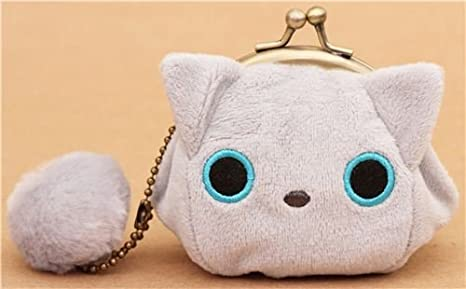 Monedero gris de peluche mini gato Kutusita Nyanko cartera ...