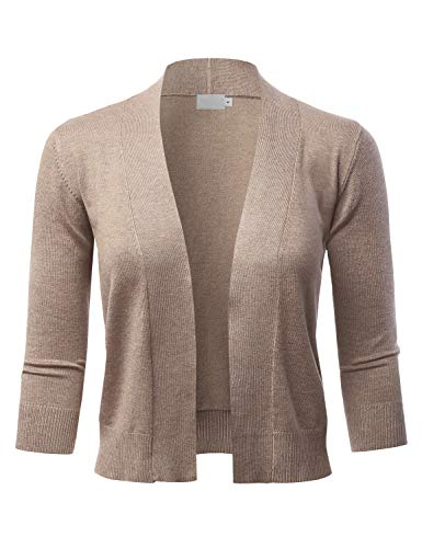 LALABEE Women's Classic 3/4 Sleeve Open Front Cropped Bolero Cardigan-Camel-S