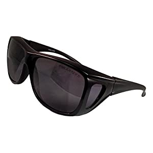 Unique Black Large Frame Smoke Lens Fit Over UV Protection Great Fishing Surfing Summer Beach Blacked Out Quirky Sunglasses Clearance Deal Gift Idea for Men Teen (Black Frame Smoke)