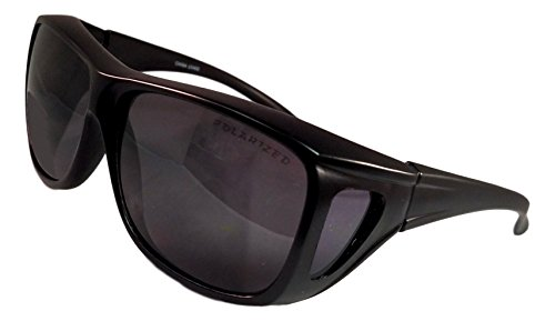 Unique Black Large Frame Smoke Lens Fit Over UV Protection Great Fishing Surfing Summer Beach Blacked Out Quirky Sunglasses Clearance Deal Gift Idea for Men Teen (Black Frame - Sunglasses Over Reviews Glasses
