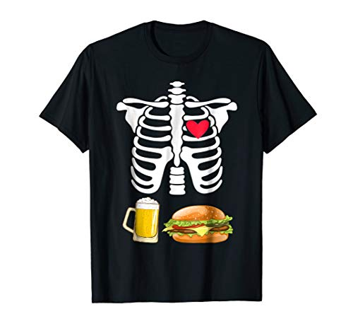 Beer and Burger Pregnant Skeleton Halloween - Beer Burger