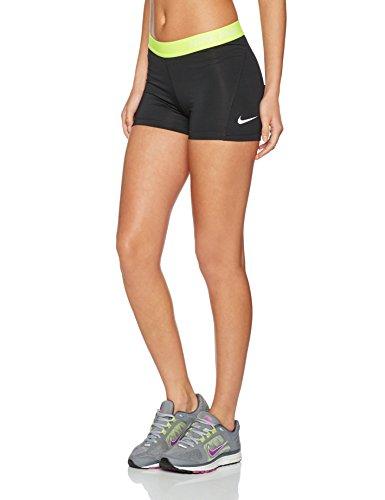 Nike Women's Pro Cool 3-Inch Compression Shorts (Black/Volt/White/Medium)