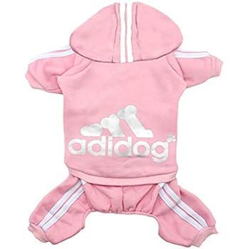 af0e6b6c32 Rdc Pet Adidog Dog Hoodies, Clothes,Fleece Basic Hoodie Warm Sweater,4 Legs  Cotton Jacket Sweat Shirt Coat for Small Dog Medium Dog Cat (M, Pink)