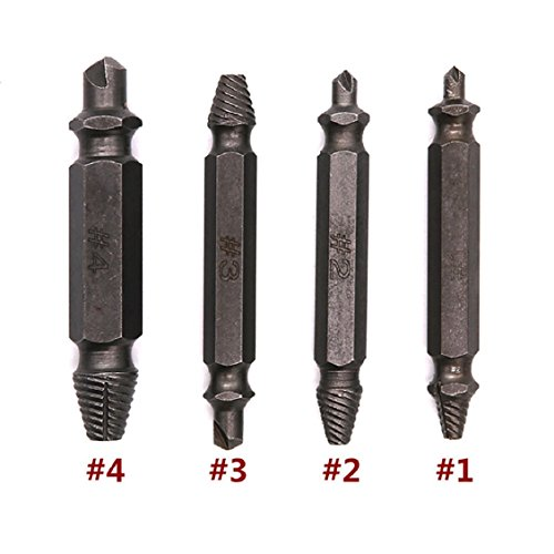 Naladoo 4Pcs Set Speed Out Screw Extractor Drill Bits Tool Broken Damaged Bolt Remover,Damaged Screw Extractor Set Easy Out Screw Remover Extractor Kit Drill Bits for HSS High Speed Steel Hardness Ext
