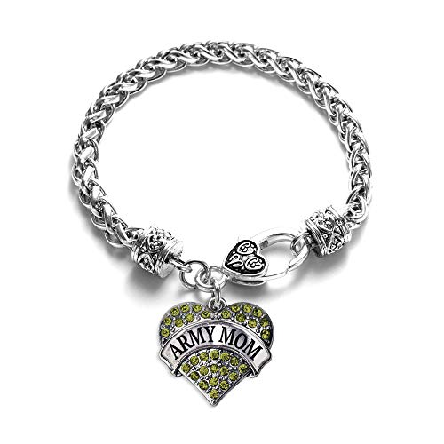 Inspired Silver - Army Mom Braided Bracelet for Women - Silver Pave Heart Charm Bracelet with Cubic Zirconia Jewelry (Army National Guard Jewelry)