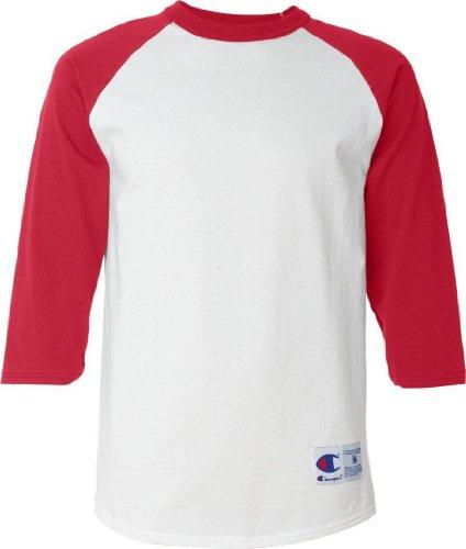 Champion Raglan Baseball T-Shirt, White/Scarlet, XL