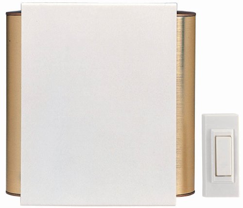 Heath Zenith SL-6180 Wireless Battery Operated Door Chime Kit, Contemporary Off-White Cover with Satin Brass Finish Tubes Brass Door Chimes
