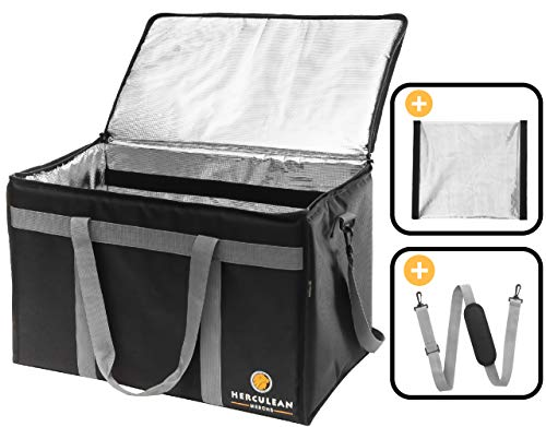 Commercial Large Premium Food Delivery Bag w/Divider | Thermal Insulated to Keep Cold or Hot Food | Durable Heavy Duty | Ideal for Catering Transport, Groceries Carrier, Ubereats, Doordash, Grubhub (Tote Bicycle)