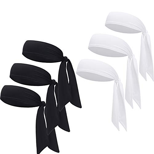 DEMIL Sports Headband - Head Tie Tennis Tie Hairband - Sweatbands Headbands Wristbands Head Wrap - Ideal for Working Out,Tennis (6pcs-3black+3white)