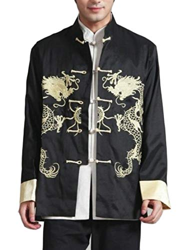 (Wofupowga Men Long Sleeve Tai Chi Chinese Style Smocked Frog-Button Tang-Suit Jacket Black S)