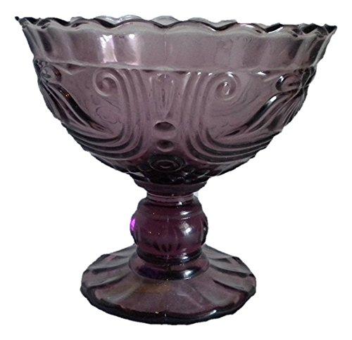Ornate Pressed Glass Large Stemed Purple Dessert Bowl
