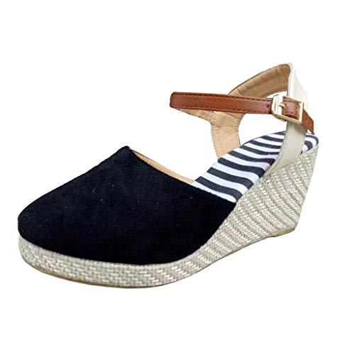 Hemlock Women Platform Sandals Closed Toe Wedges Ankle Strap Espadrille Mid Heel Wedge Sandals Shoes Black (Mini Platform Formal Shoes)