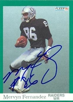 Mervyn Fernandez autographed Football Card (Oakland Raiders) 1991 Fleer #106 - NFL Autographed Football Cards