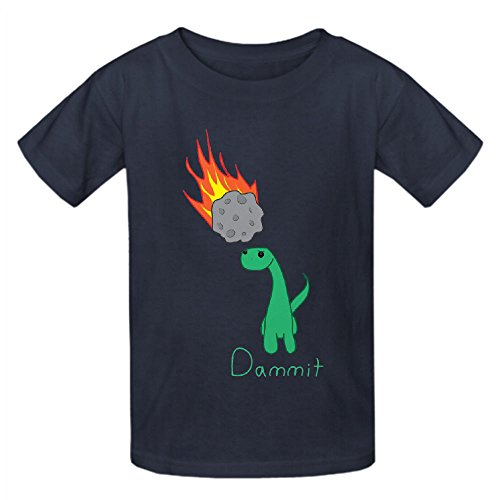 Dammit Dinosaur Child Crew Neck Personalized T Shirt Grey (Checked Kilt)