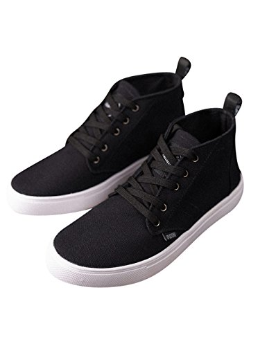 Menschwear Men's High-top Lace-up Canvas Shoes Outdoor Lightweight Breathable Sneakers Black-gbbx2017 6eJkb0