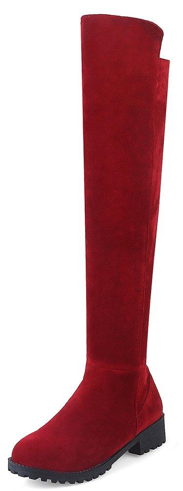 Aisun Damen Runde Zehen Plateau Blockabsatz Martin Boots Sexy Overknee Langschaft Stiefel Rot 44 EU PFR33W