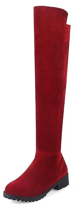 Aisun Damen Runde Zehen Plateau Blockabsatz Martin Boots Sexy Overknee Langschaft Stiefel Rot 44 EU Ywjxw