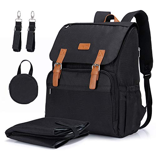 Lifewit Unisex Diaper Backpack Diaper Bag for Mom/Dad, Nappy Bag with Insulated Pockets/Side Tissu Pocket/Changing Pad, Baby Travel Backpack for Baby Care Baby Shower, Black