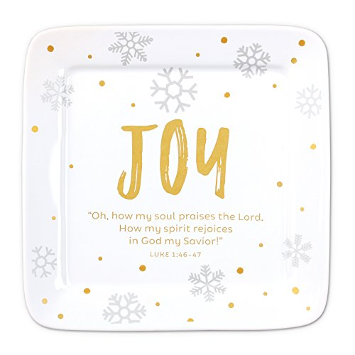 Lighthouse Christian Products White & Gold Joy Ceramic Christmas Plate