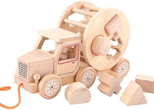 幼児のための形状認識と幾何学学習のためのプッシュプルのおもちゃ木製形状分類カー (色 : Natural)
