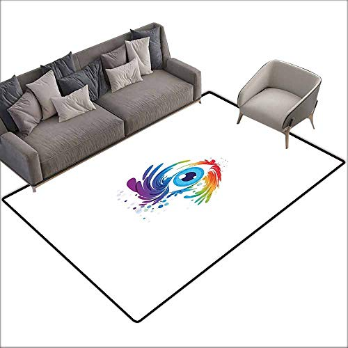 (Floor Mat Entrance Doormat Eyelash,Abstract Colorful Eye with Artistic Lively Color Splashes Swirls Fantasy Creativity,Multicolor 60