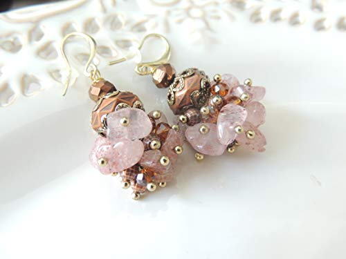 Beautiful Vintage Old Pink Beads Hanging earrings Dangle Earrings for her, Handmade Earrings, Bridal Jewelry, Ancient earrings