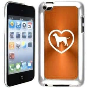 Apple iPod Touch 4 4G 4th Generation Orange B1816 Hard Back Case Cover Lab Labrador Retriever Heart
