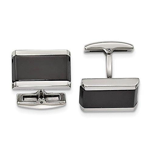 - Mia Diamonds Stainless Steel Polished Black Onyx Rectangle Cufflinks