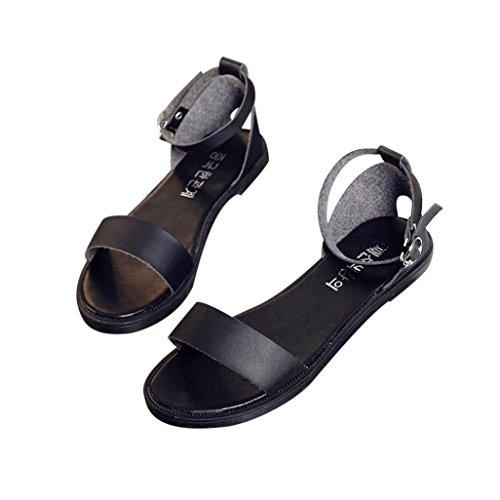 Sandalen, Yogogo Sommer Sandalen Frauen flache Mode Sandalen bequeme Damen Schuhe Schwarz