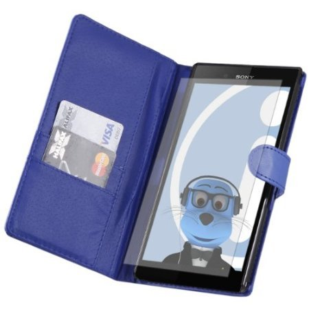 Viesrod iTALKonline Sony Xperia Z Ultra PU Leather BLUE Executive Flip Wallet Book Case Cover with Credit / Business Card...