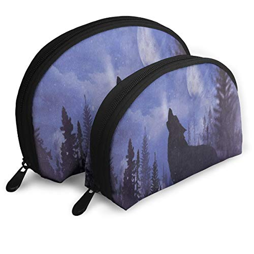 Makeup Bag Moon Starry Forest Wolf Animal Portable Shell Cosmetic Bags For Women Halloween Gift Pack - 2 -
