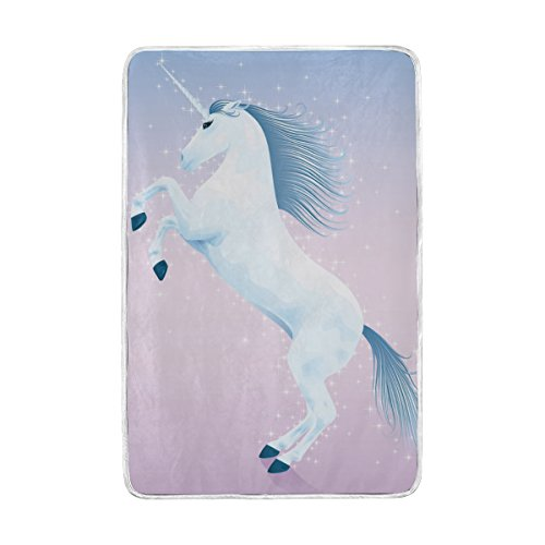 (ColourLife Queen Soft Blanket Throw Cozy Warm Flannel Fleece Blanket for Bed Sofa Couch Beach Camping 60x90 inches Magic Unicorn Rising Up On His Hind Legs)