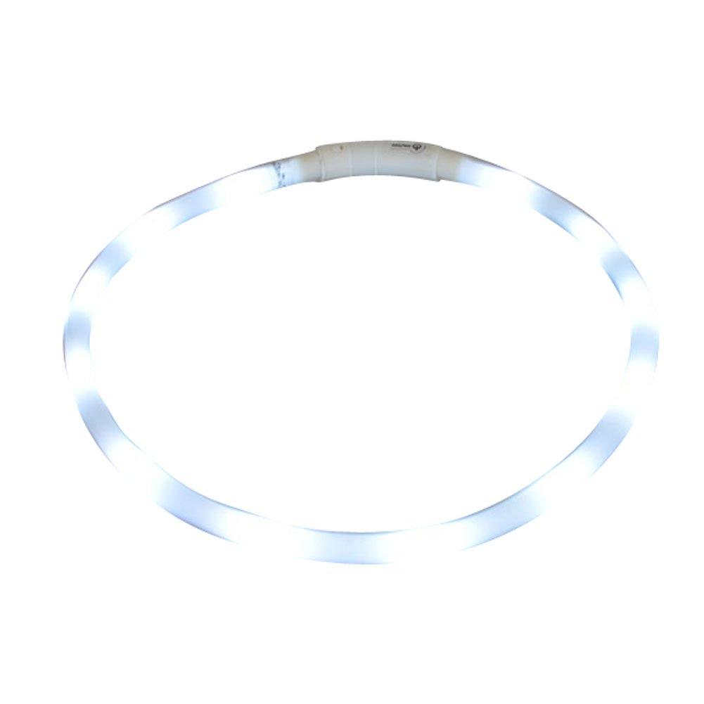 Clase de eficiencia energ/ética A Collar de Perro USB Impermeable Recargable Ajustable de Luz azul LED Seguridad Collar con un Cable USB de Silicona Luminoso Correa del Light-up Color S/òlido