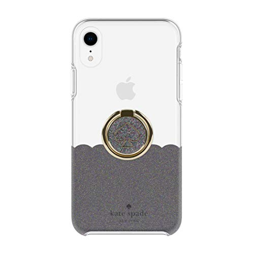 Kate Spade New York Gift Set Bundle | for Apple iPhone XR | Protective Phone Case [Scalloped (Black Multi Glitter/Clear)] and Stability Ring Stand [Spade Black Multi Glitter Enamel]