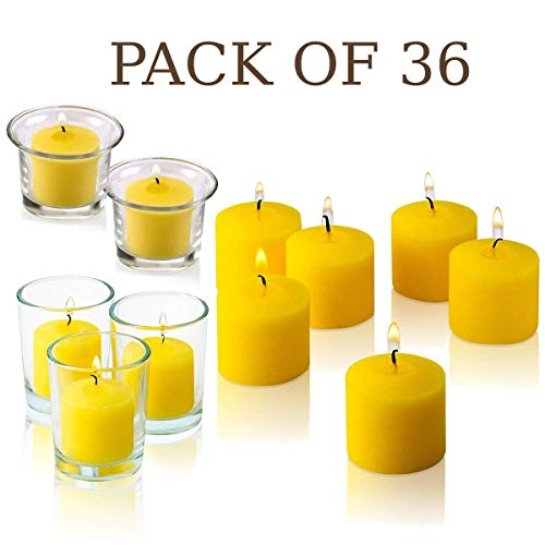 Votive Citronella Candle - Pack of 36 - Made from High Scented Citronella to Scare Away Mosquito, Bug and Flies - for Outdoor/Indoor Use - 10 Hour Burn Time - Made in USA
