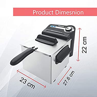 Inalsa Professional 2 Fryer, 18/8 Steel, 2 Liter, Digital Timer, 1700 W, Detachable, Dishwasher Safe, European Energy Efficiency Standard, Stainless Steel, (Grey) 9
