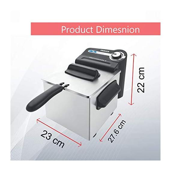 Inalsa Professional 2 Fryer, 18/8 Steel, 2 Liter, Digital Timer, 1700 W, Detachable, Dishwasher Safe, European Energy Efficiency Standard, Stainless Steel, (Grey) 2