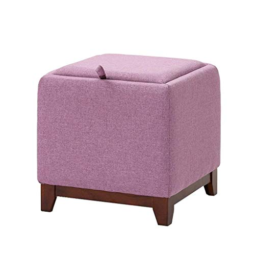- Der Multifunction Cloth Storage Stool Wooden Practical Footstool Pouffe Upholstered Footrest for Living Room Bedroom Single Ottoman Seat Tea Table Stool,Max.100KG for Hallway (Color : Purple)