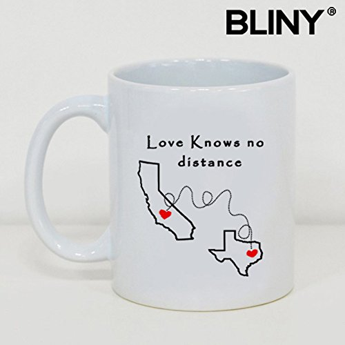 Funny Coffee Tea Mug Love Knows No Distance California Texas White Ceramic 11oz Home/Office Mug,Gift For Birthday,Christmas,Father's Day,Mother's Day and Valentine's Day. California Gift