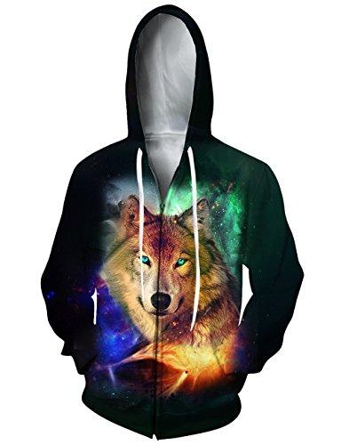 Design Kids Sweatshirt (Loveternal Unisex Cool Galaxy Wolf Design Printed Hoodies Long Sleeve Pullover Zip Up Hooded Sweatshirt For Teen Boys Girls S)