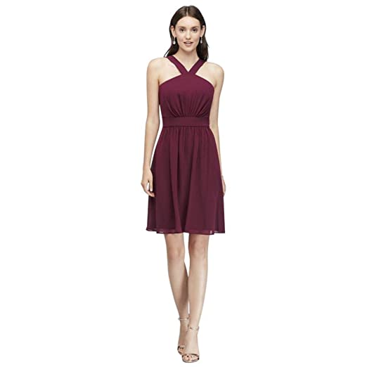 972991fa014c David's Bridal Y-Neck Pleated Chiffon Short Bridesmaid Dress Style W60003,  Merlot, ...