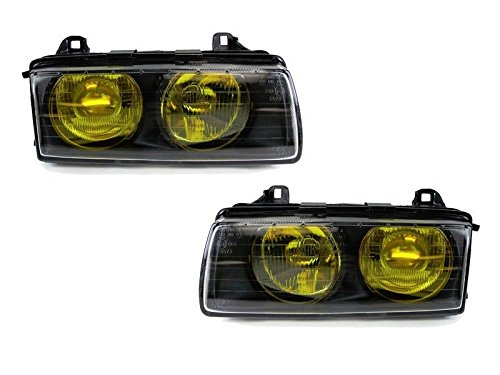 CPW (tm) Frenched French style Yellow Glass Euro Projector Headlights Set FOR 1992-1999 BMW E36 3-SERIES- 318TI 318i 323is 328i 325is 325i 328is - Series Euro Headlights