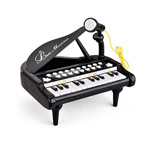 Mallya 24 Keys Keyboard Kids Toy Piano with Microphone - Black (Keys Kids)