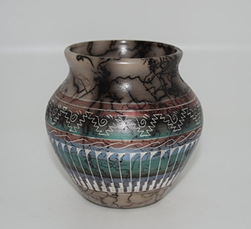 Navajo Pottery (Colorful Quality Hand Etched Horse Hair Decorative Pottery)