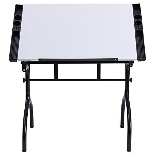 "(GJH One Drafting Table Drawing Desk Adjustable Board Folding Craft Station Art Hobby White 40.55""X23.62""X29.92-43.31"")"