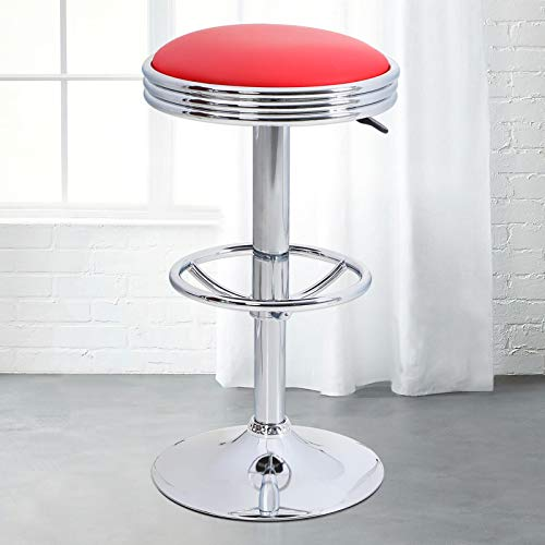 Sophia & William Bar Stools, Adjustable Swivel Round Counter Stools with Footrest, PU Leather Retro Diner Stools for…