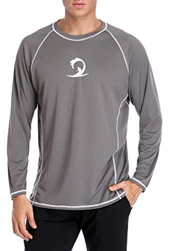 beautyin Quick Dry Long Sleeve Rashguard Tee Shirt Mens Athletic Swimwear Gray L