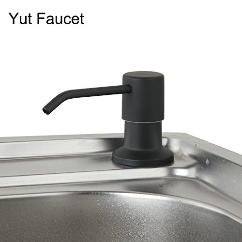 Black Finish Kitchen Sink Accessories Pump Soap Dispenser Foam Liquid Bottle Stainless Steel Deck Mount (Black painting) (Black Soap Pump Dispenser)