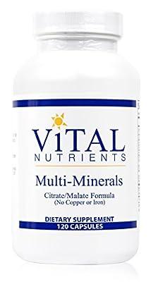 Vital Nutrients - Multi-Minerals - Citrate/Malate Formula (No Copper or Iron) - 120 Capsules