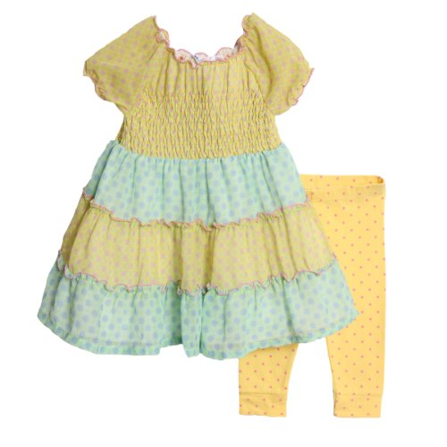 BT Kids Little Girls' 2 Piece Yellow Blue Sheer Overlay Dress Polka Dot Leggings